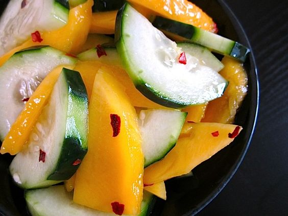 Sweet salad of cucumbers and mangoes