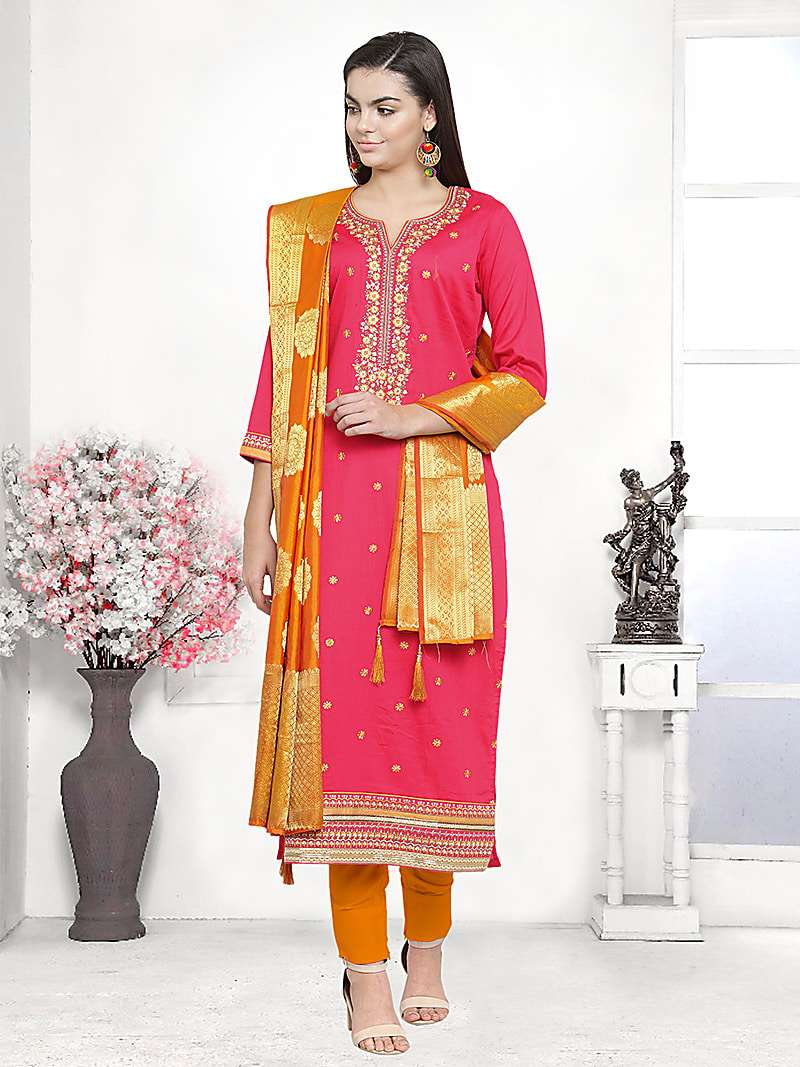 Coral Color Cotton Blend Embroidered Unstitched Straight Suit
