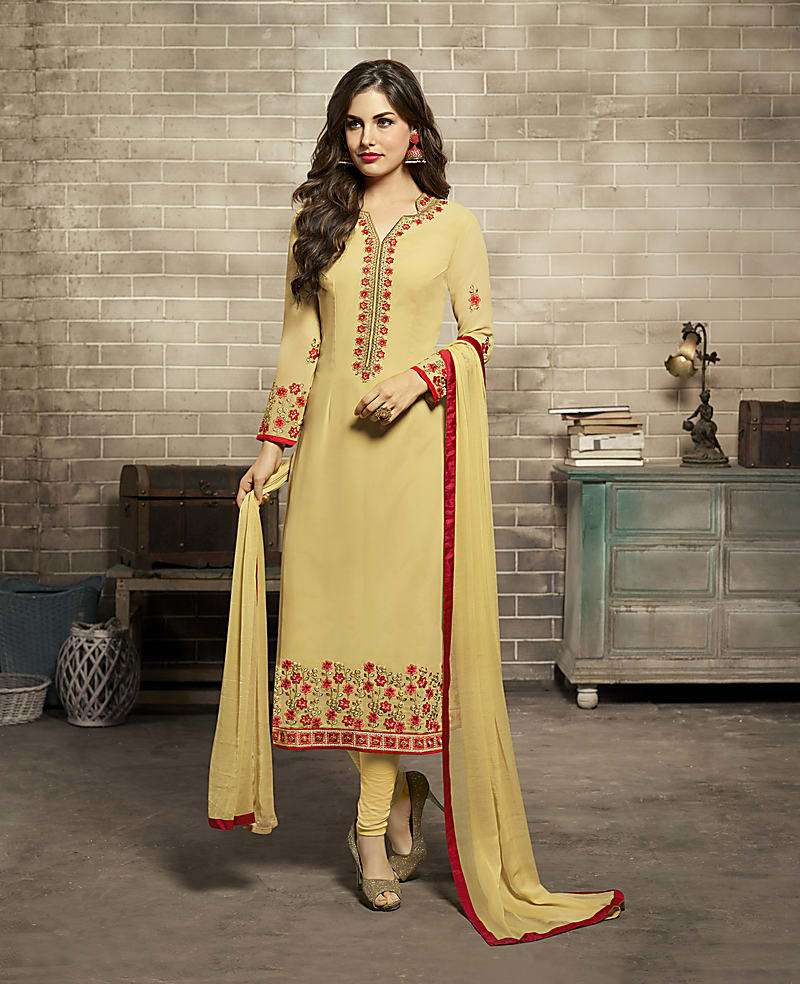 Mustard Color Georgette Embroidered Unstitched Straight Churidar Suit