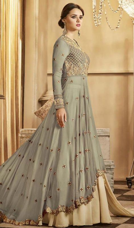 gray and beige color georgette dress