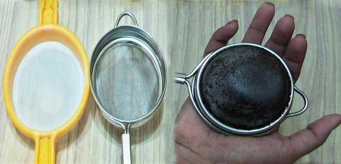 clean your plastic steel tea Sieve