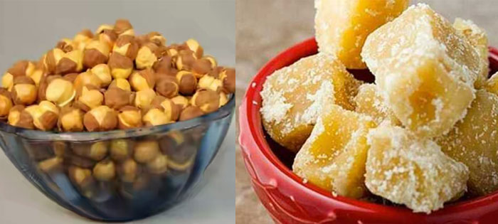 bhune chane and jaggery