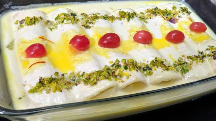 Rabri Bread Malai Roll Recipe