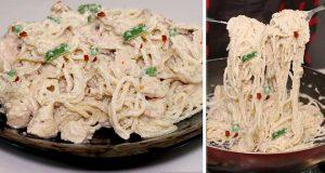 spaghetti in white sauce